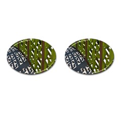 Shadow Reflections Casting From Japanese Garden Fence Cufflinks (oval)