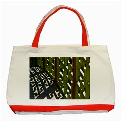 Shadow Reflections Casting From Japanese Garden Fence Classic Tote Bag (Red)