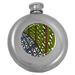Shadow Reflections Casting From Japanese Garden Fence Round Hip Flask (5 oz)