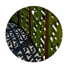 Shadow Reflections Casting From Japanese Garden Fence Round Ornament (Two Sides)