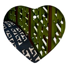 Shadow Reflections Casting From Japanese Garden Fence Heart Ornament (Two Sides)