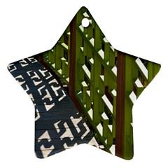 Shadow Reflections Casting From Japanese Garden Fence Star Ornament (Two Sides)