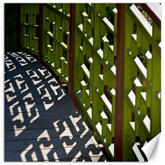 Shadow Reflections Casting From Japanese Garden Fence Canvas 16  x 16