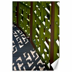 Shadow Reflections Casting From Japanese Garden Fence Canvas 20  X 30