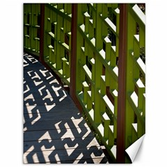 Shadow Reflections Casting From Japanese Garden Fence Canvas 36  X 48