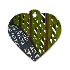 Shadow Reflections Casting From Japanese Garden Fence Dog Tag Heart (two Sides)