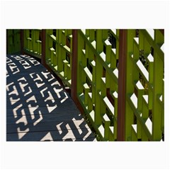 Shadow Reflections Casting From Japanese Garden Fence Large Glasses Cloth