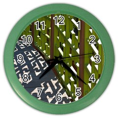 Shadow Reflections Casting From Japanese Garden Fence Color Wall Clocks