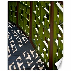 Shadow Reflections Casting From Japanese Garden Fence Canvas 11  x 14