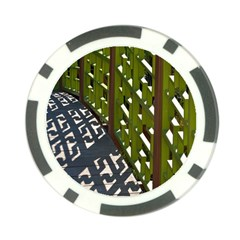 Shadow Reflections Casting From Japanese Garden Fence Poker Chip Card Guard