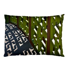 Shadow Reflections Casting From Japanese Garden Fence Pillow Case
