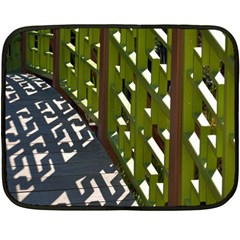 Shadow Reflections Casting From Japanese Garden Fence Fleece Blanket (Mini)