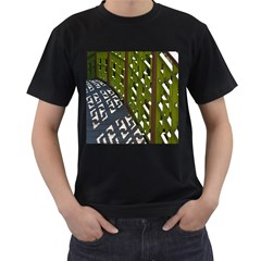 Shadow Reflections Casting From Japanese Garden Fence Men s T Shirt (black)