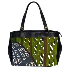 Shadow Reflections Casting From Japanese Garden Fence Office Handbags (2 Sides)