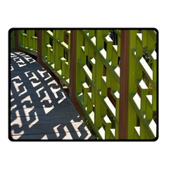 Shadow Reflections Casting From Japanese Garden Fence Fleece Blanket (Small)