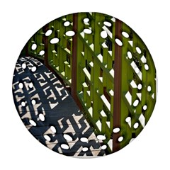 Shadow Reflections Casting From Japanese Garden Fence Round Filigree Ornament (Two Sides)