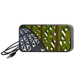 Shadow Reflections Casting From Japanese Garden Fence Portable Speaker (Black)