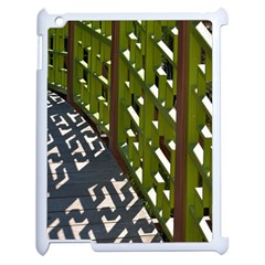 Shadow Reflections Casting From Japanese Garden Fence Apple iPad 2 Case (White)