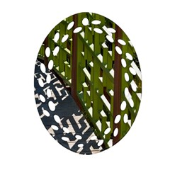 Shadow Reflections Casting From Japanese Garden Fence Oval Filigree Ornament (two Sides)
