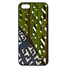 Shadow Reflections Casting From Japanese Garden Fence Apple Iphone 5 Seamless Case (black)