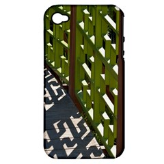 Shadow Reflections Casting From Japanese Garden Fence Apple Iphone 4/4s Hardshell Case (pc+silicone)