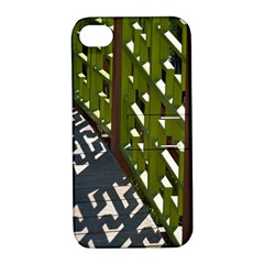 Shadow Reflections Casting From Japanese Garden Fence Apple Iphone 4/4s Hardshell Case With Stand