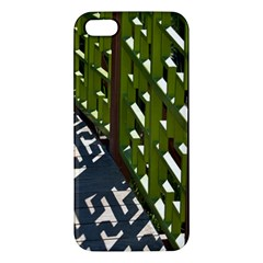 Shadow Reflections Casting From Japanese Garden Fence Apple Iphone 5 Premium Hardshell Case