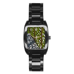 Shadow Reflections Casting From Japanese Garden Fence Stainless Steel Barrel Watch