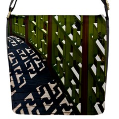 Shadow Reflections Casting From Japanese Garden Fence Flap Messenger Bag (s)