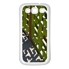 Shadow Reflections Casting From Japanese Garden Fence Samsung Galaxy S3 Back Case (white)