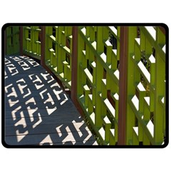 Shadow Reflections Casting From Japanese Garden Fence Double Sided Fleece Blanket (large)