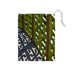 Shadow Reflections Casting From Japanese Garden Fence Drawstring Pouches (medium)