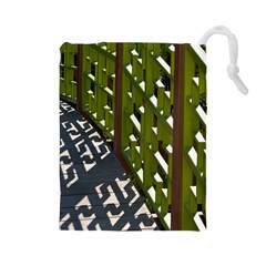 Shadow Reflections Casting From Japanese Garden Fence Drawstring Pouches (Large)