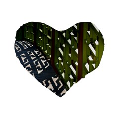 Shadow Reflections Casting From Japanese Garden Fence Standard 16  Premium Flano Heart Shape Cushions