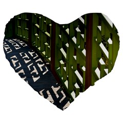 Shadow Reflections Casting From Japanese Garden Fence Large 19  Premium Flano Heart Shape Cushions
