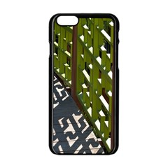 Shadow Reflections Casting From Japanese Garden Fence Apple iPhone 6/6S Black Enamel Case