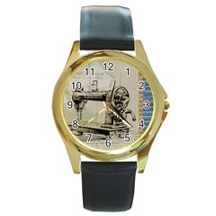 Sewing  Round Gold Metal Watch