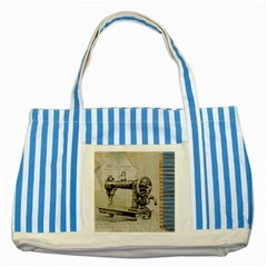 Sewing  Striped Blue Tote Bag