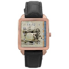 Sewing  Rose Gold Leather Watch