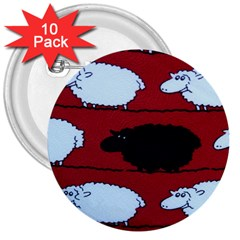 Sheep 3  Buttons (10 pack)