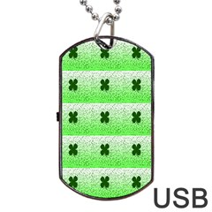 Shamrock Pattern Dog Tag USB Flash (One Side)