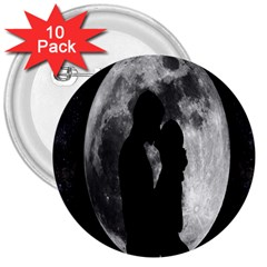 Silhouette Of Lovers 3  Buttons (10 Pack)