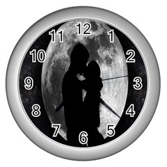Silhouette Of Lovers Wall Clocks (Silver)