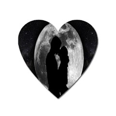Silhouette Of Lovers Heart Magnet