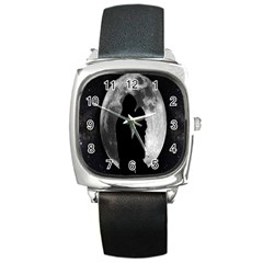 Silhouette Of Lovers Square Metal Watch