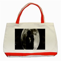 Silhouette Of Lovers Classic Tote Bag (Red)