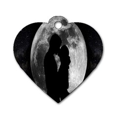 Silhouette Of Lovers Dog Tag Heart (One Side)