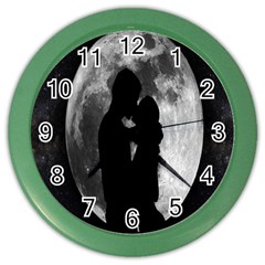 Silhouette Of Lovers Color Wall Clocks