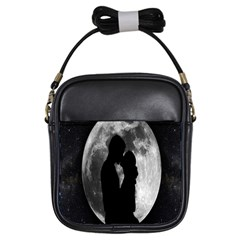 Silhouette Of Lovers Girls Sling Bags