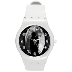 Silhouette Of Lovers Round Plastic Sport Watch (M)